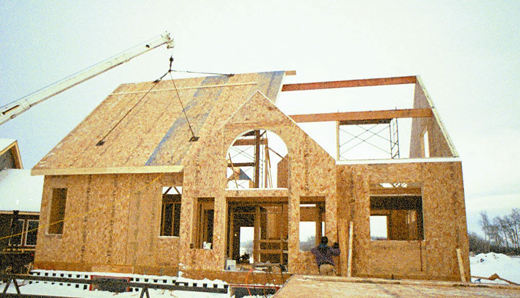 Panels on roof Building with sip