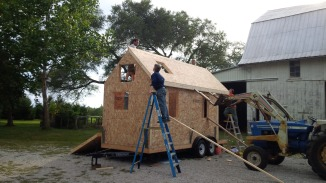 Once all the walls are installed, we moved on to the first of two roof panels.