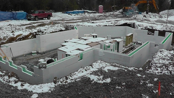 An Advantage ICF foundation installed in the snow.